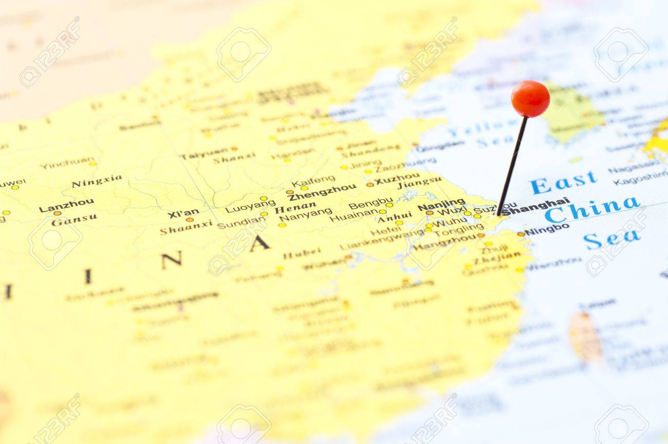To Mark Shanghai On World Map At Red Pin Stock Photo, Picture And ...