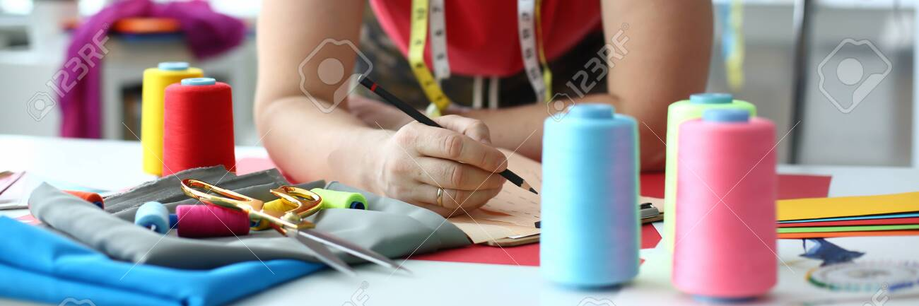 Dressmaking And Sewing Concept Fashion Designer Male Dressmaker Stock Photo Picture And Royalty Free Image Image 128647842