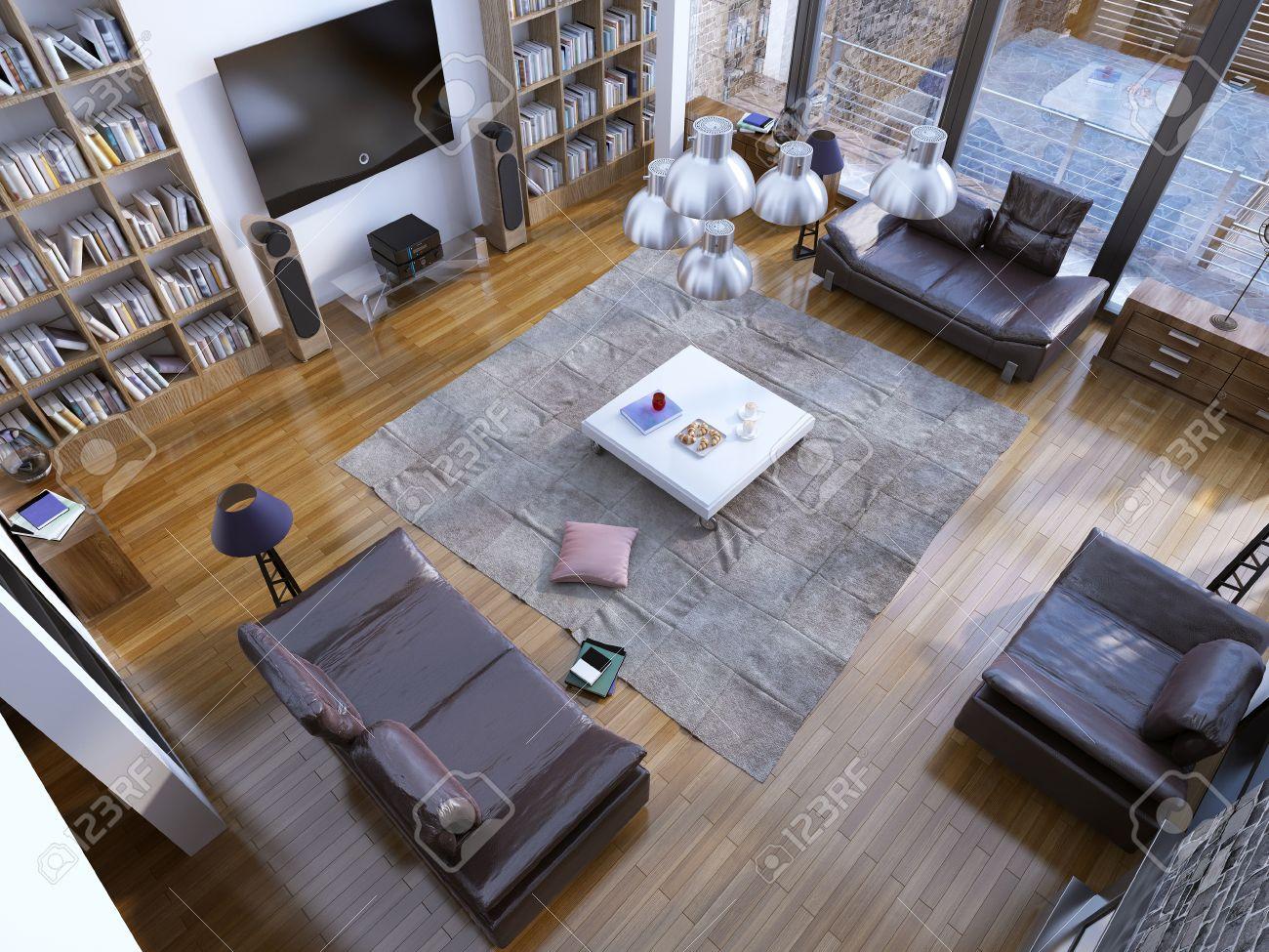 Fantastisch Design Der Modernen Wohnzimmer Mit Heim Bibliothek Und Weiß Niedrigen Tisch  In Der Mitte. 3D