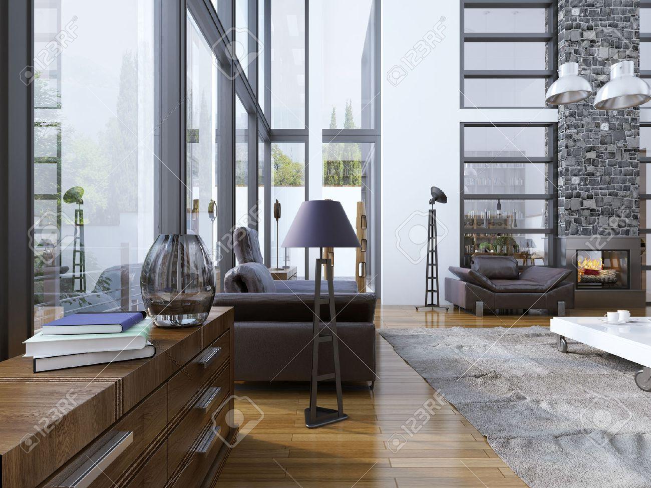 Idea di soggiorno con finestre panoramiche. high soffitto del ...
