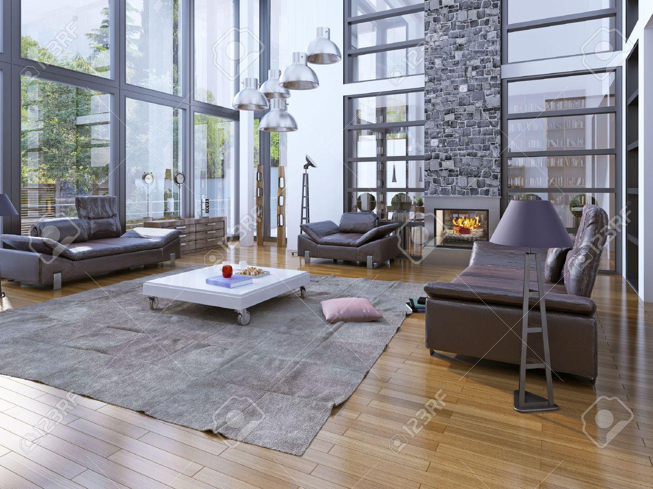 Hohe Decke Wohnzimmer Mit Fireplare. Modernes Interieur Mit ...