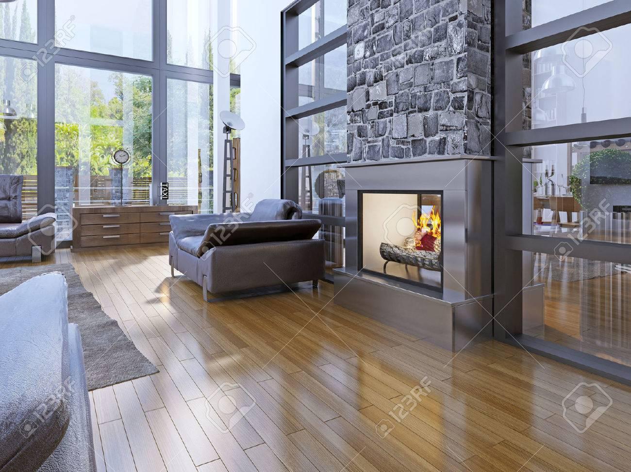 Faszinierend Wohnzimmer Idee Referenz Von Der Avantgarde-wohnzimmer Mit Kamin. 3d übertragen Standard-bild
