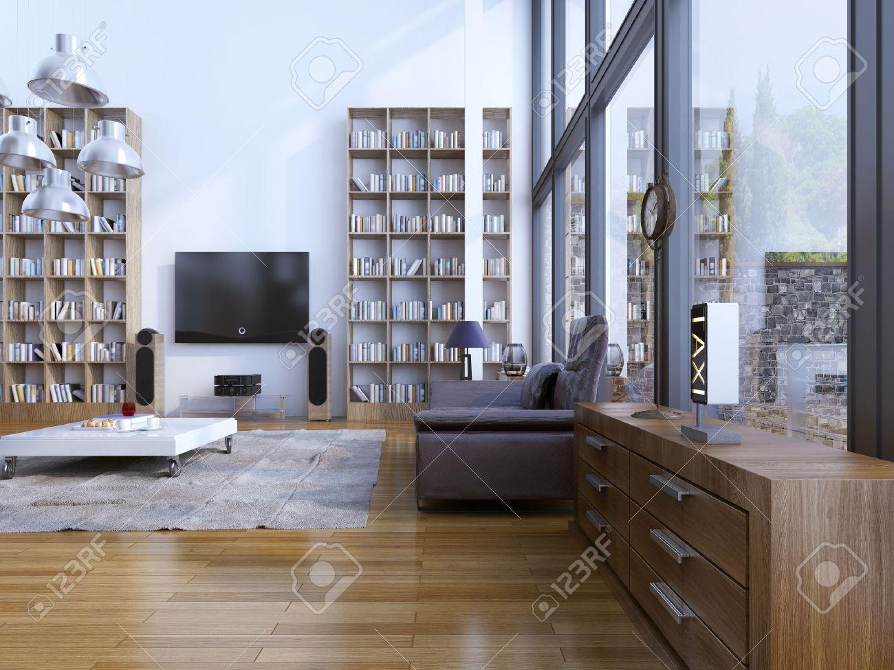 Salon de style moderne. Vie contemporain avec des meubles design, du sol au  plafond et des fenêtres panoramiques. 3D render