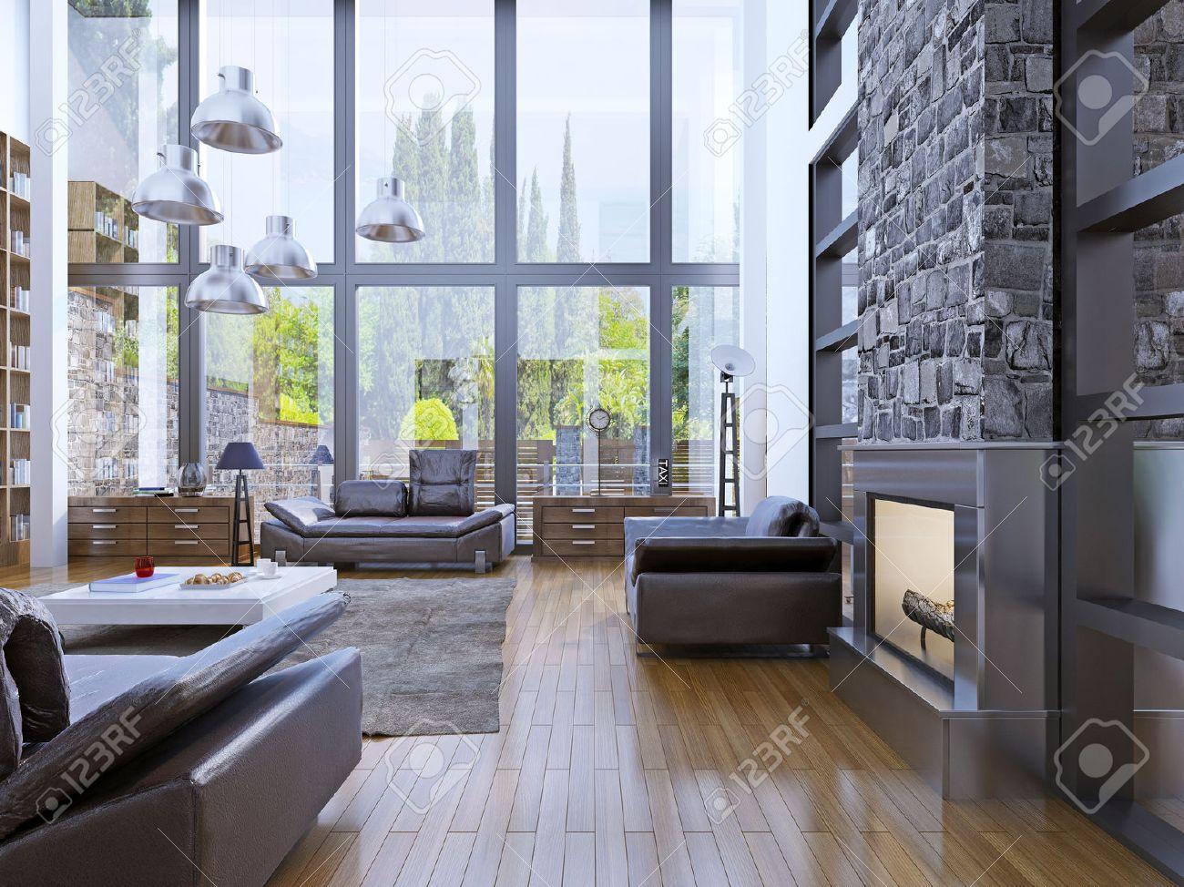 Loft appartement interieur met panoramisch raam. woonkamer met ...