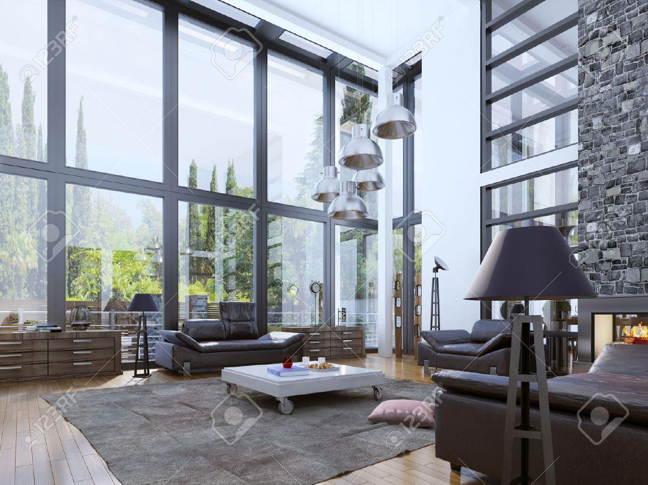 Standard Bild   Zweistöckiges Modernes Wohnzimmer Mit Panoramafenstern.  Einheit Mit Der Natur Innenraum. Helle Architektur Wohnzimmer Mit Weißen  Wänden Und ...