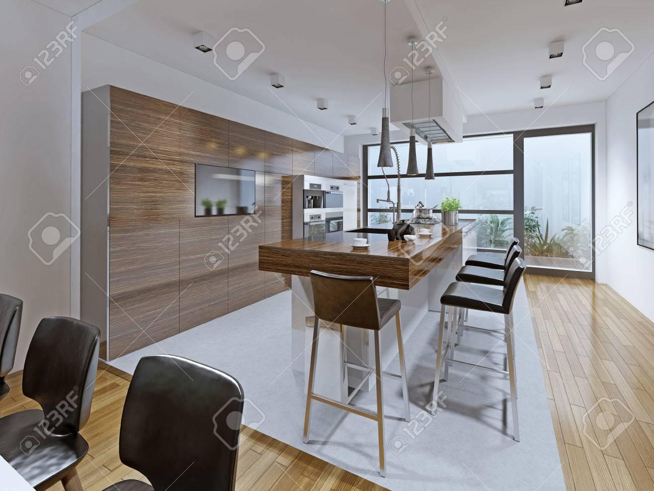 Schön Theke Küche Ideen Von Küche High-tech-stil. Küche Mit Auf Der Insel