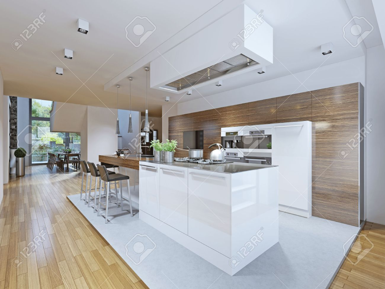 Bright kitchen avant-garde style. Kitchen cabinets and countertop..