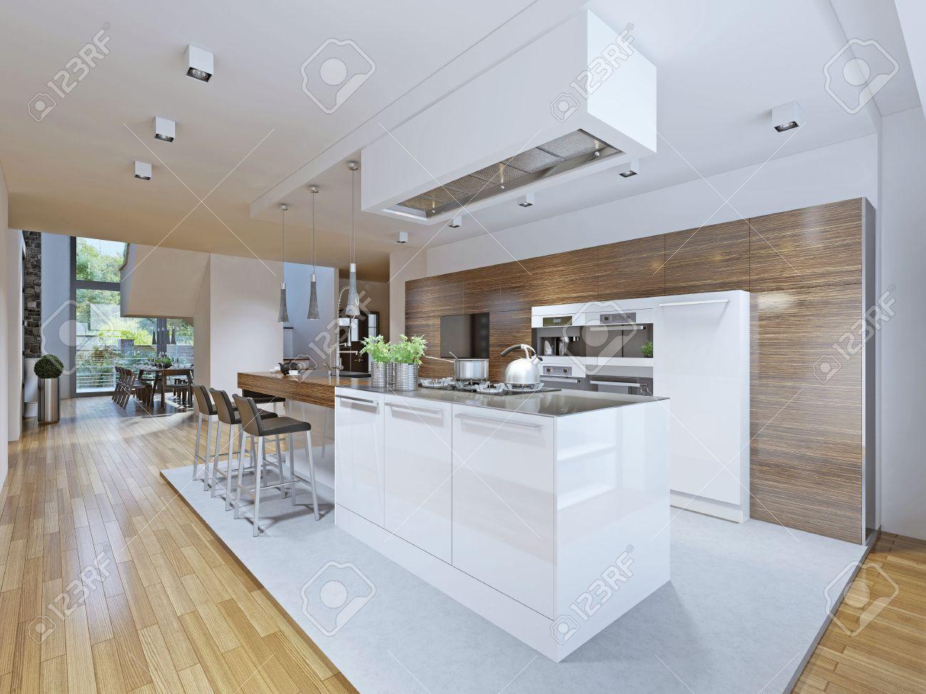 Helle Küche Avantgarde-Stil. Küchenschränke Und Arbeitsplatte Bar ...