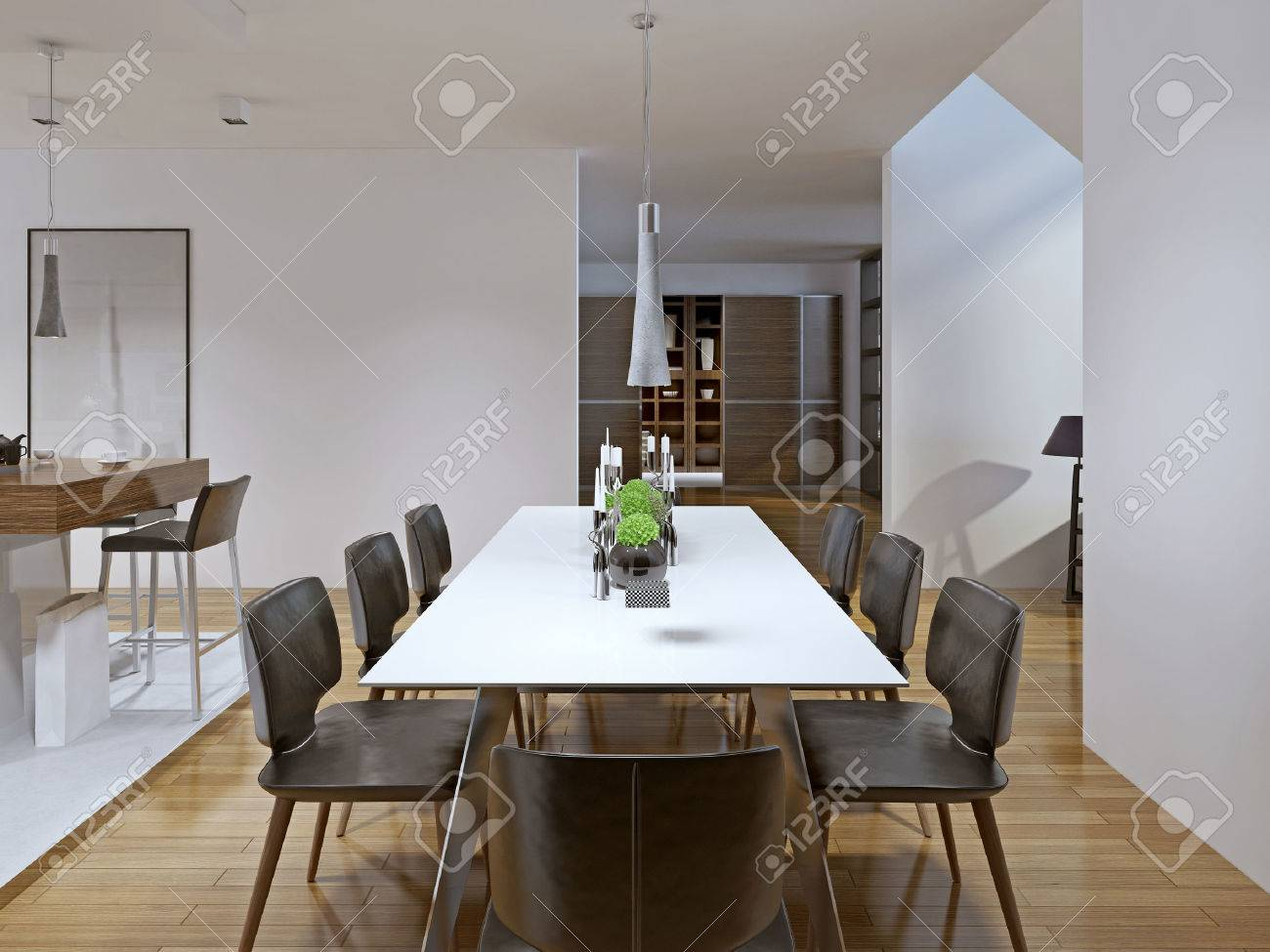 Contemporary Style Dining Room 3d Render
