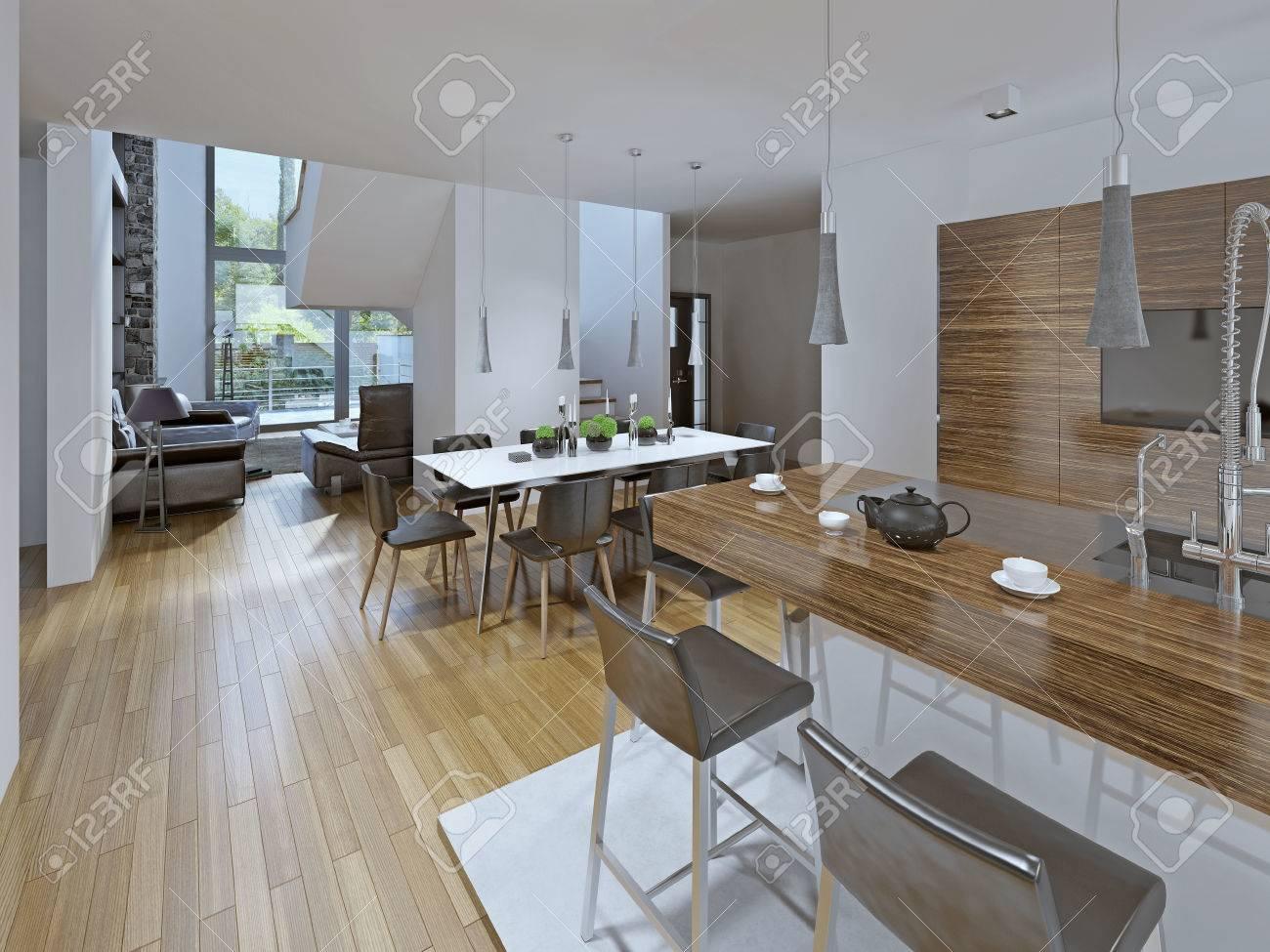 Kombinierte Esszimmer Mit Küche. Der Kontrast Zwischen Weiß Und Braun.