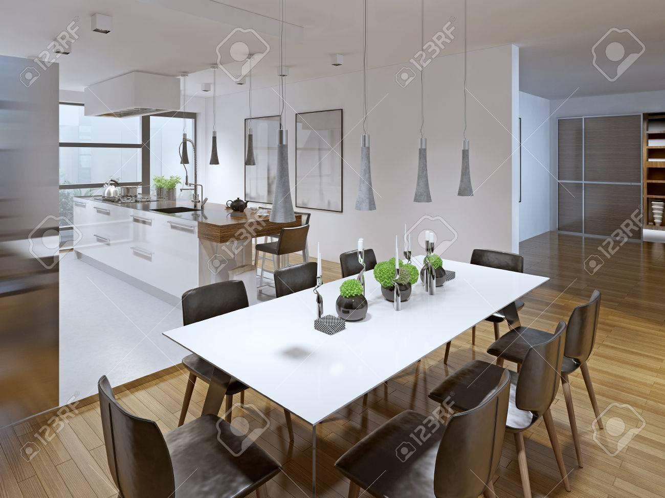 Diseño De La Cocina Moderna Con Comedor. 3D Render Fotos, Retratos ...