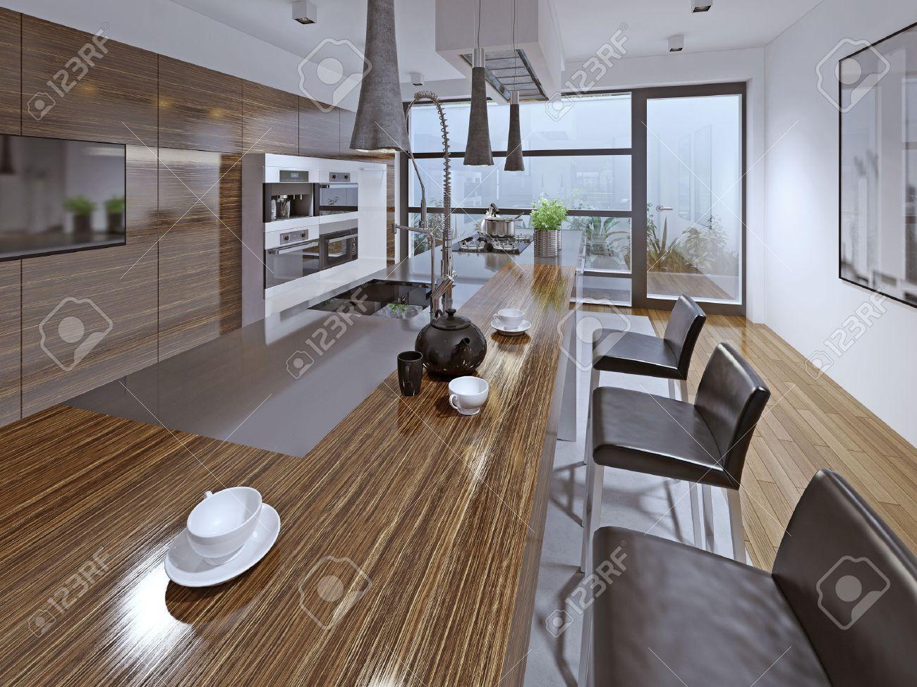 Cucina moderna con lutilizzo di sgabelli da bar zebrano facade