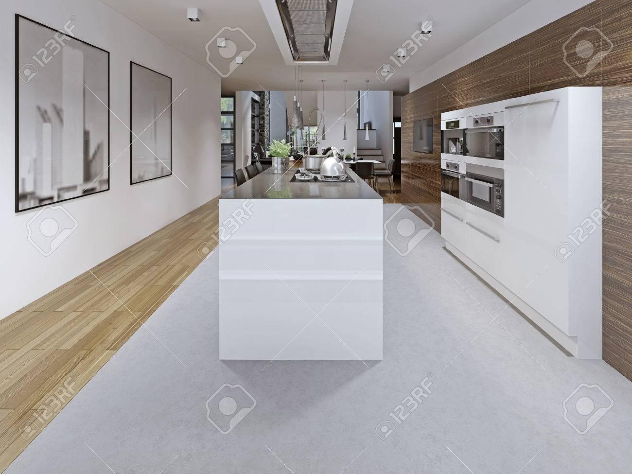 Contemporary Kitchen Design. Kitchen Planning Tricks. Modern.. Stock ...
