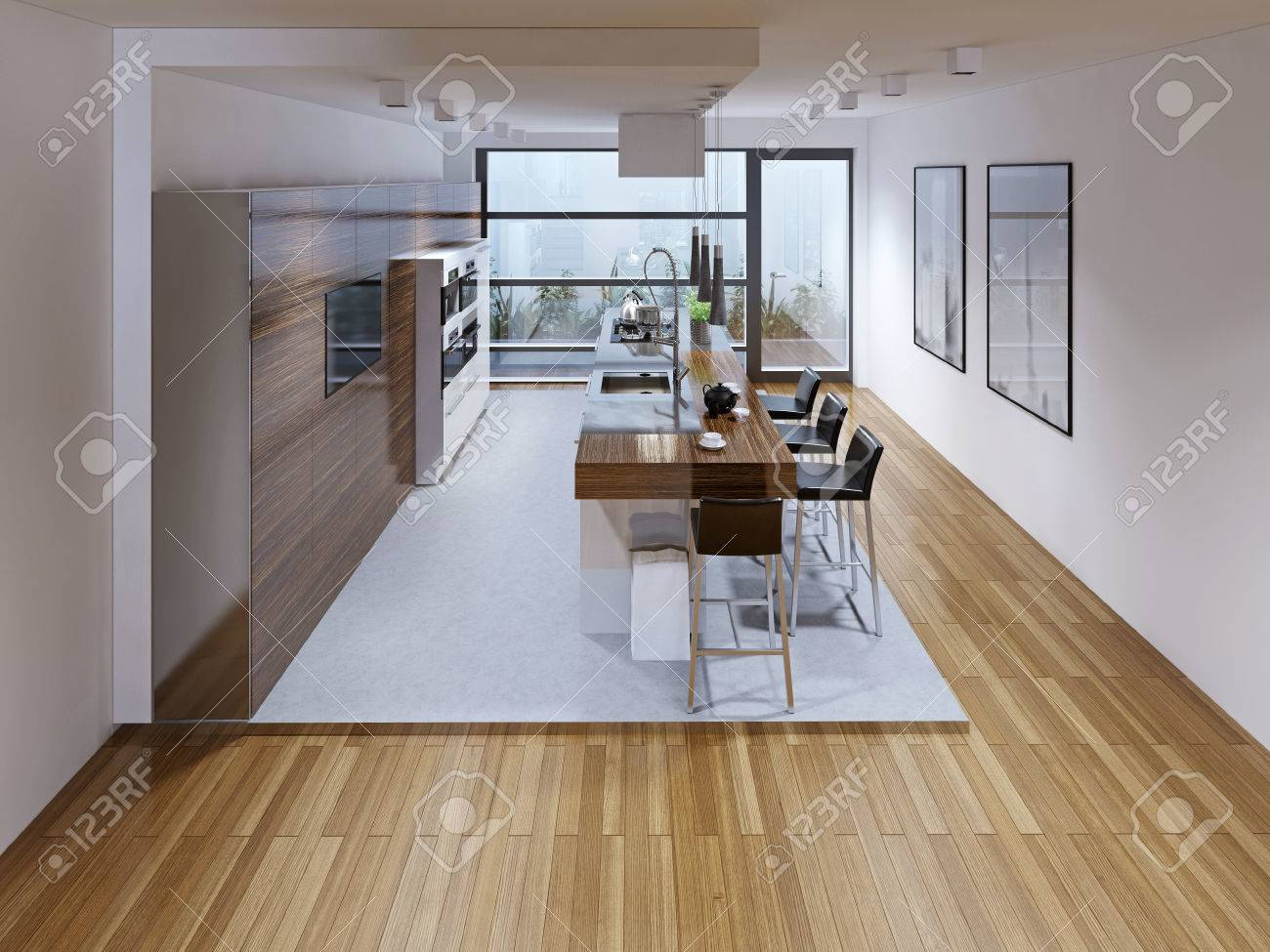 Conception d\'une cuisine moderne avec îlot. Conception d\'une cuisine  moderne avec îlot. Le contraste des deux couleurs: blanc et brun. appareils  ...
