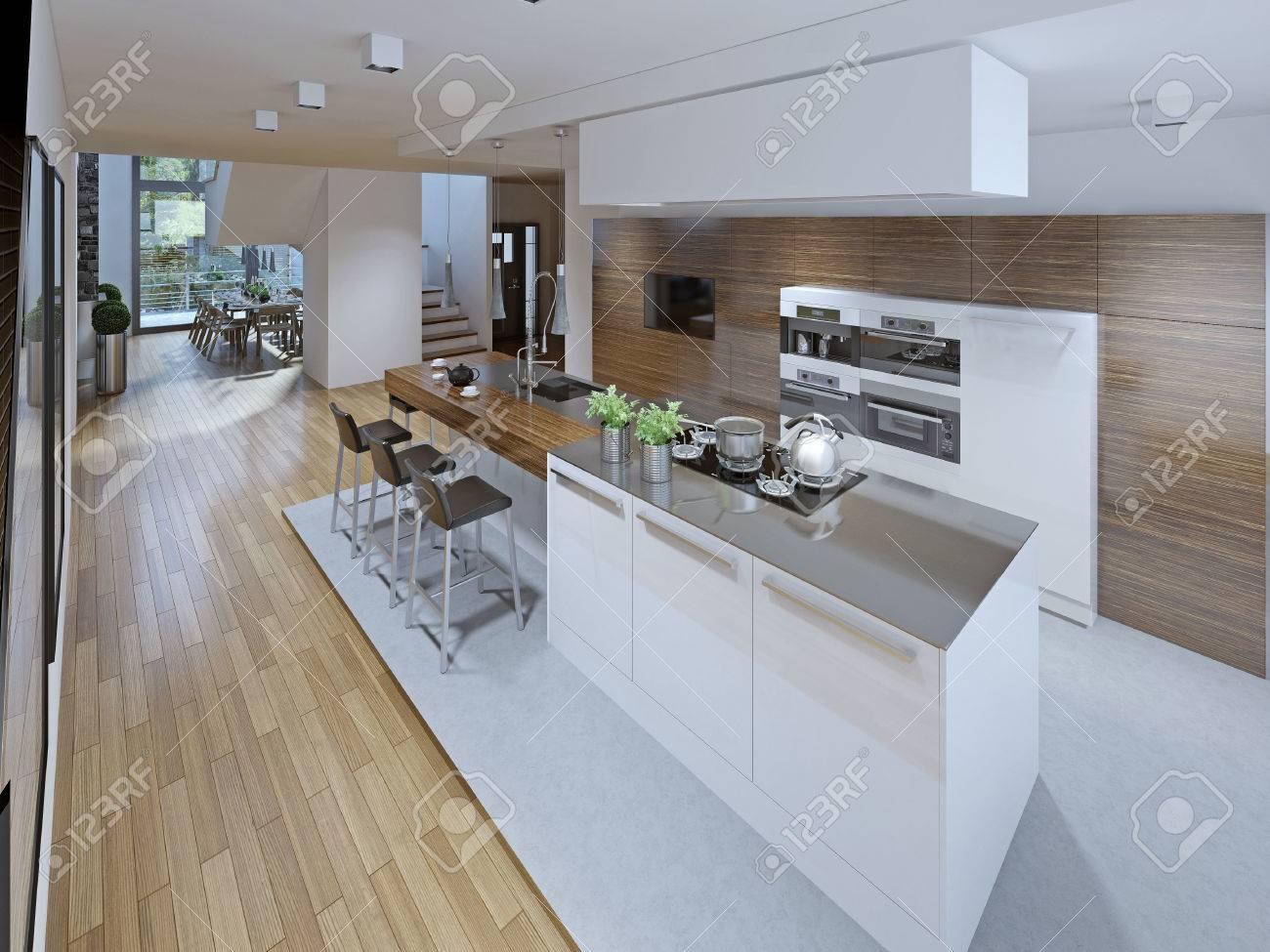 Progettazione Di Spaziosa Cucina Con Isola. Rendering 3D Foto ...