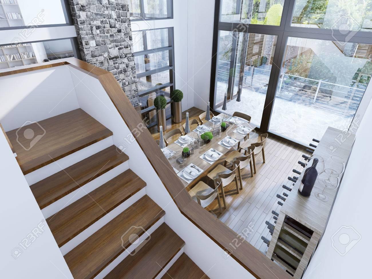 Draufsicht Auf Einen Modernen Speisesaal Design. Geräumiges Zimmer ...