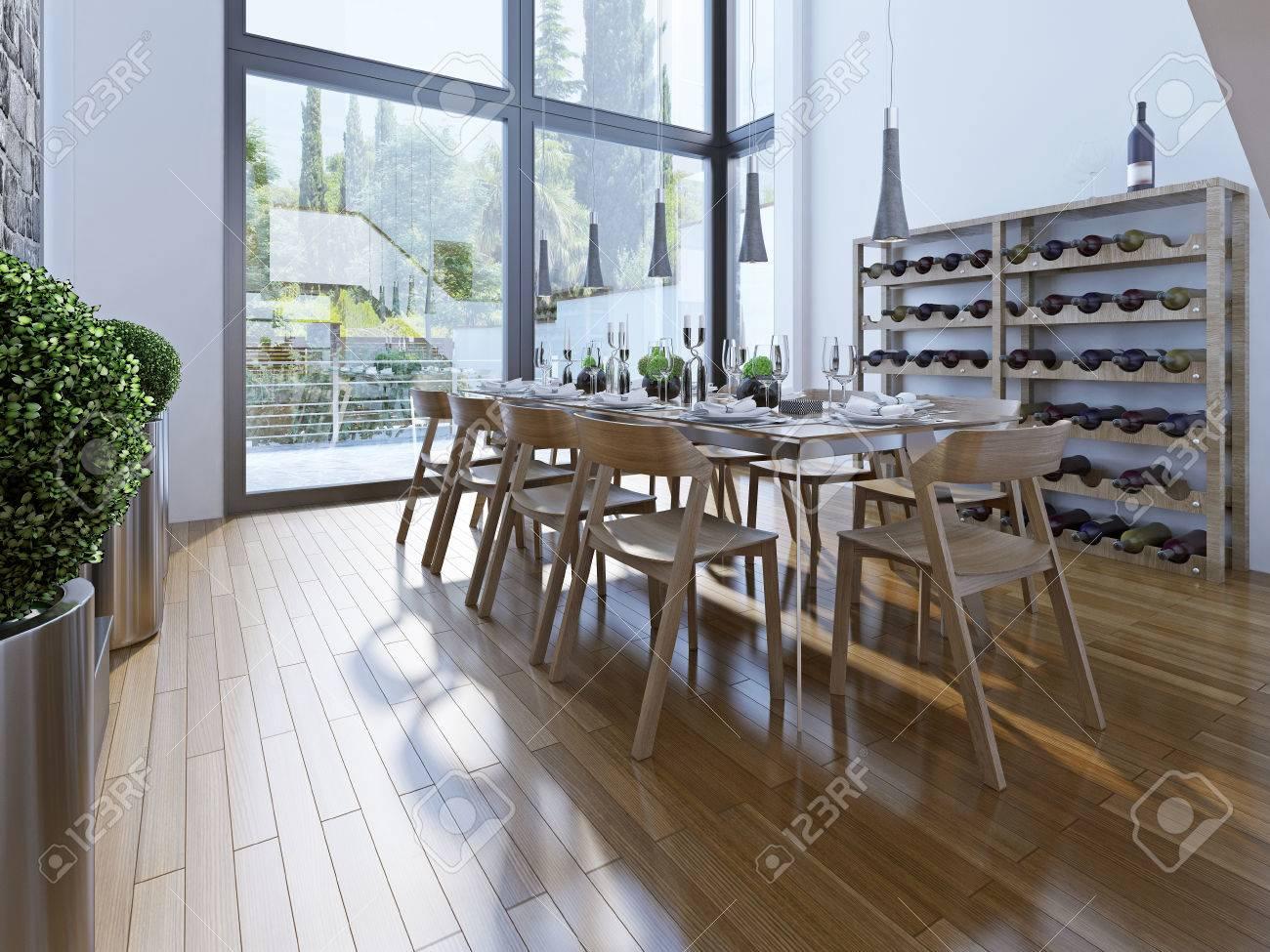 Progettazione di sala da pranzo con mobili marrone. una sala con ...