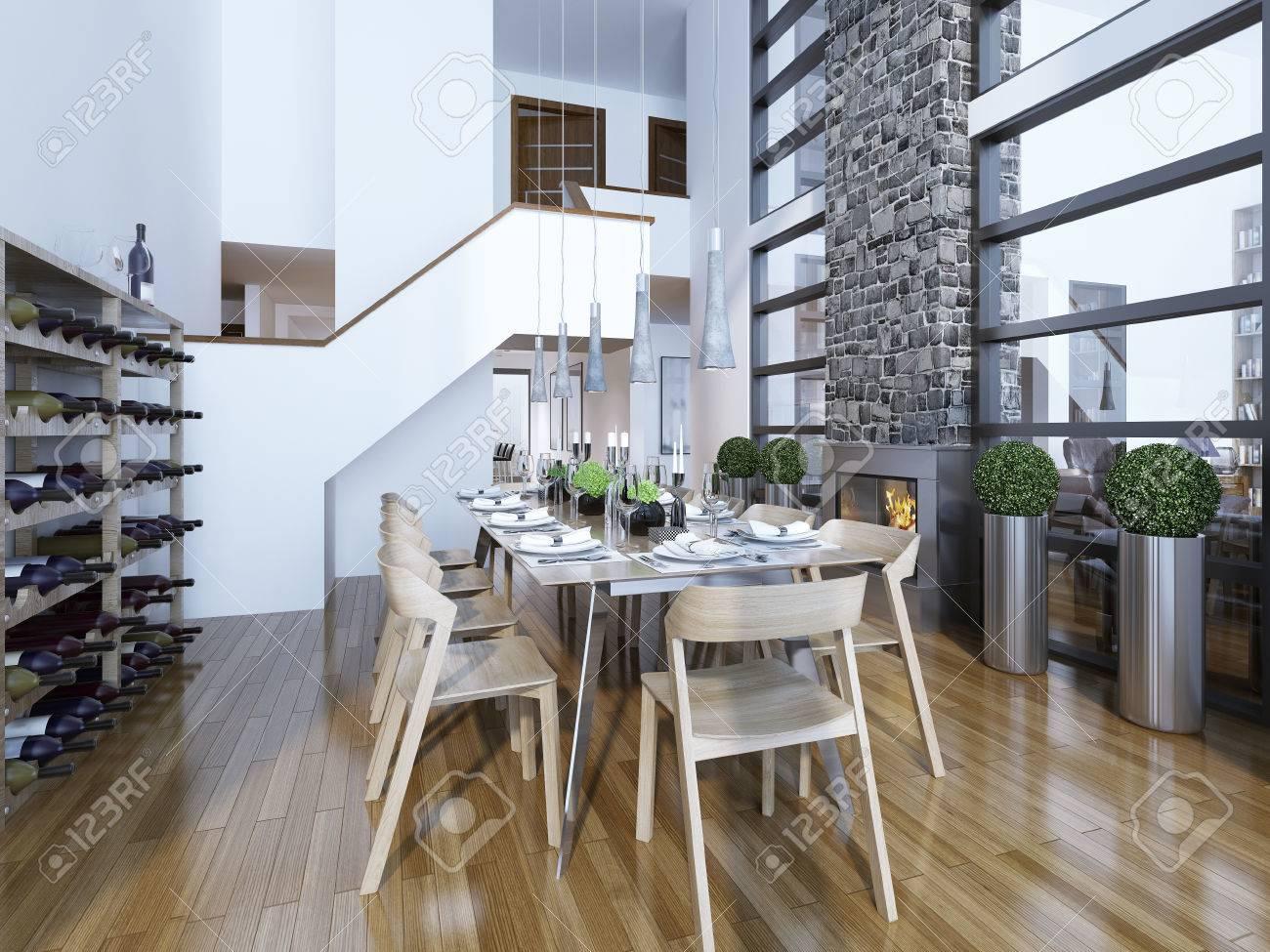 Esszimmer Modernen Stil Mit Kamin Und Heimweinregal. Serviert Mit Einem  Hellen Holztisch Für 10 Personen