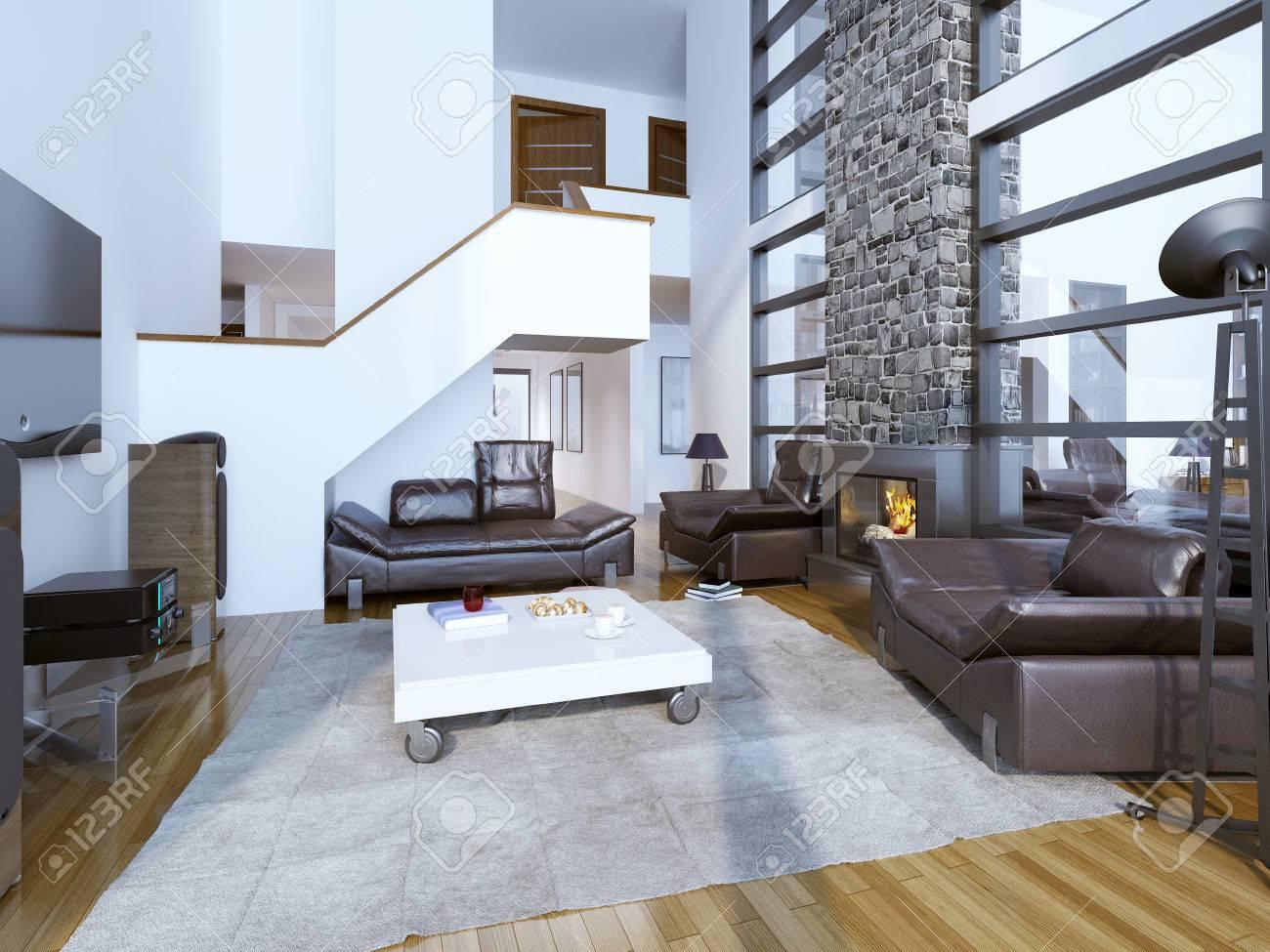 Design Of Cozy Modern Living Room. High Ceiling Room Interior ...