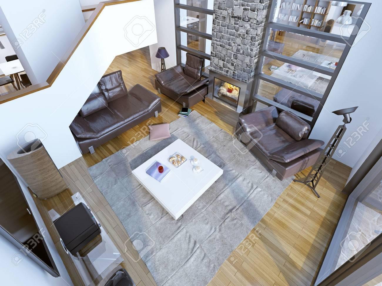 Idee Der Modernen High Decke Wohnzimmer. Wohnzimmer Mit Ledermöbeln, Weißen  Tisch In Der