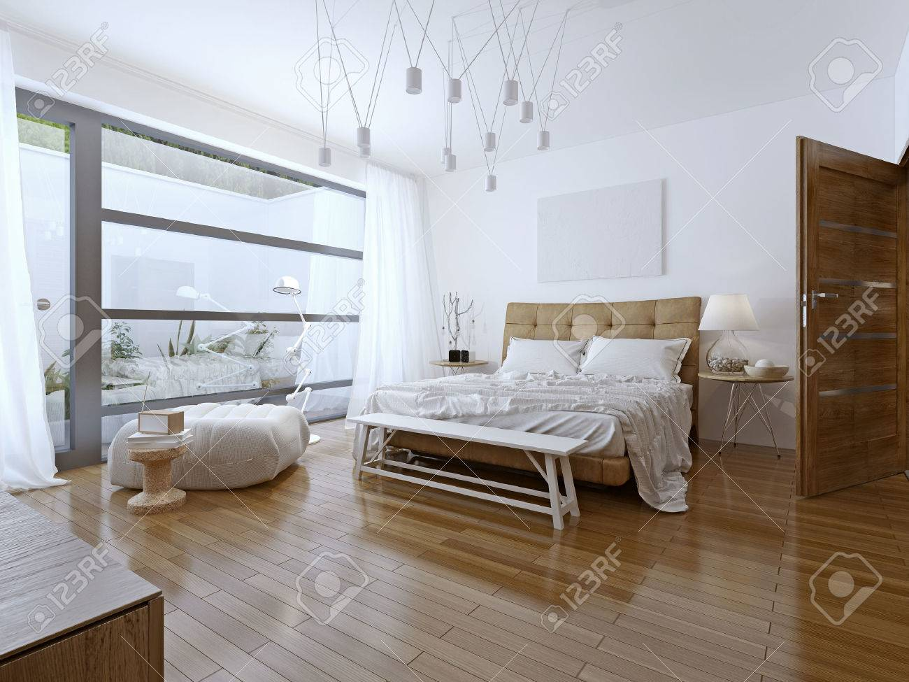 Helles Schlafzimmer Zeitgenössischen Stil. Schöne Geräumige Zimmer ...