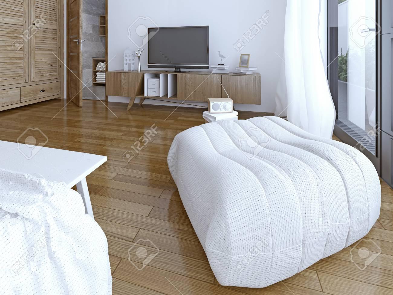 Weiche ottomane im schlafzimmer. 3d übertragen lizenzfreie fotos