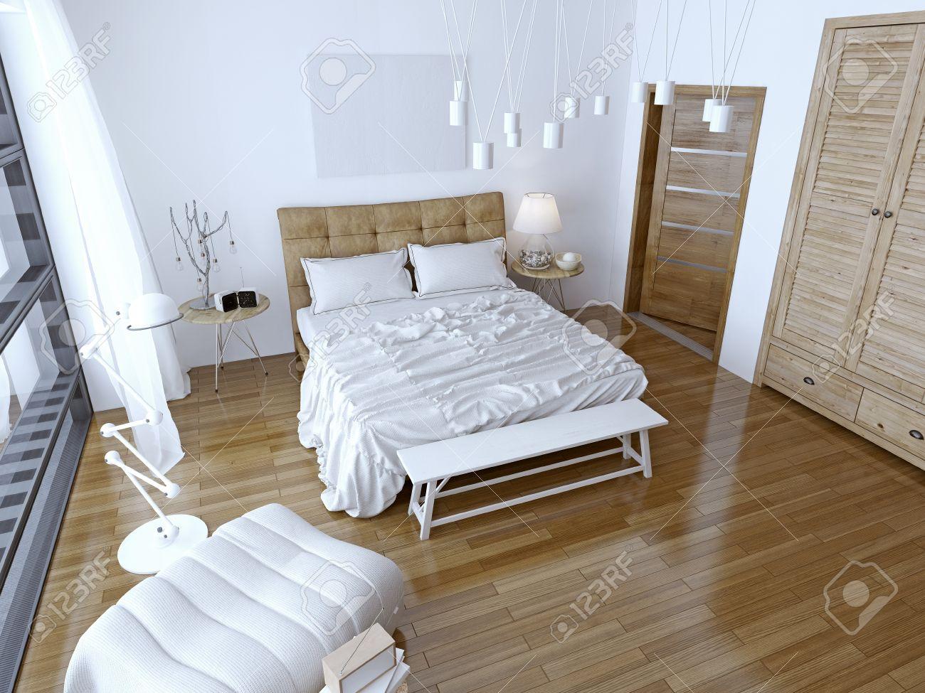 Moderna sovrum med brun säng och vit vägg. rymliga rum med en ...