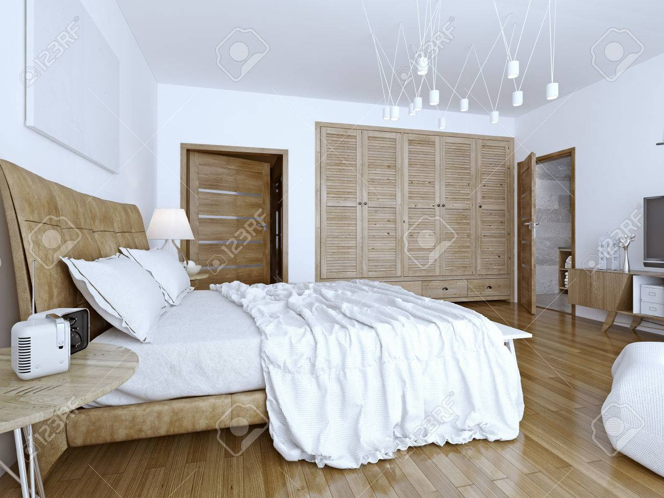 Großartig Bett Minimalistisch Dekoration Von Standard-bild - Ungemachtes Im Minimalistischen Schlafzimmer. 3d