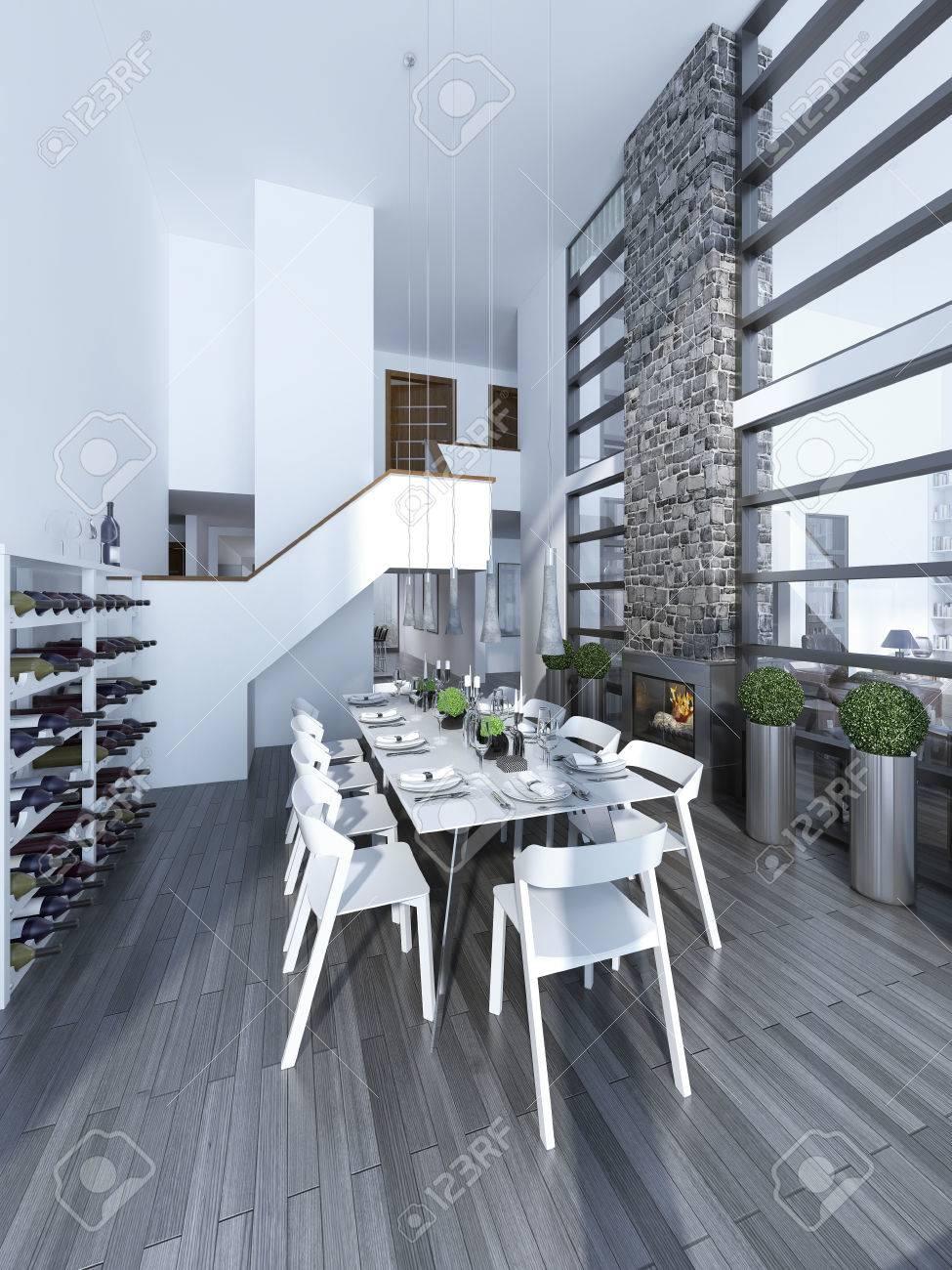 idea de amplio comedor de techo alto blanca decorada mesa con sillas blancas una