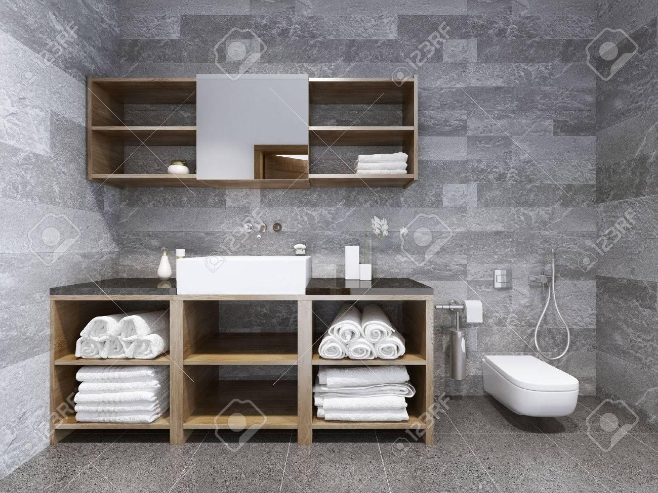 Bad Zeitgenössischen Stil. Modische Badezimmer: Aktuelle Trends. 3D ...