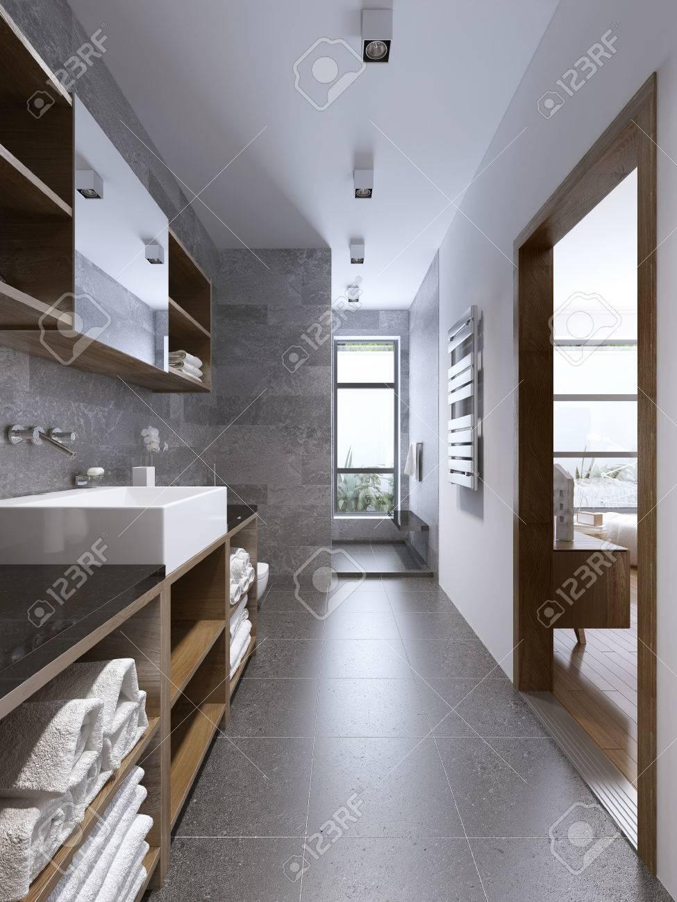 Brillante Entre Moderno Cuarto De Baño Con Ducha Separaded. Diseño ...