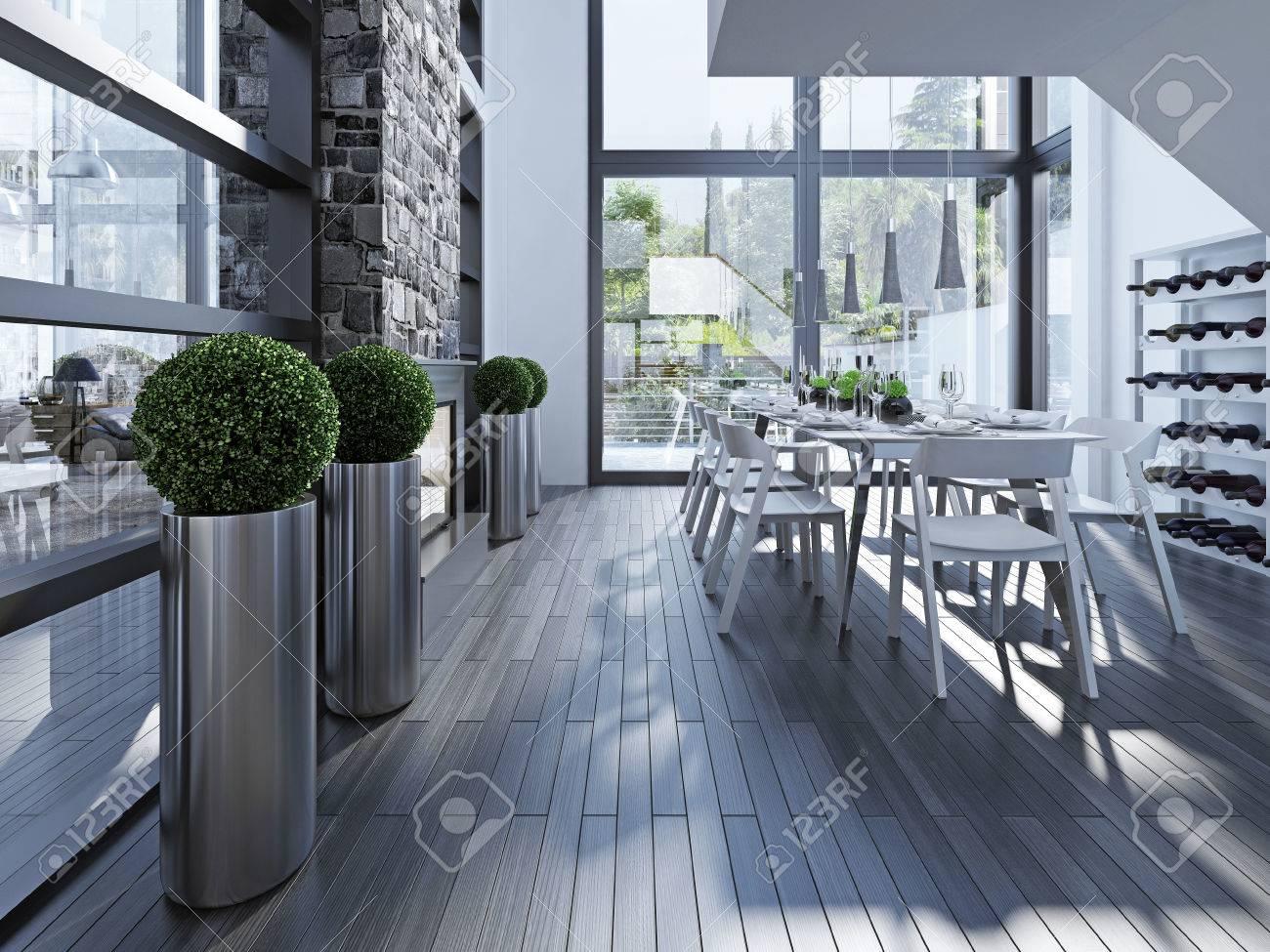 Moderne Esszimmer Mit Kamin. Weiße Möbel, Weiße Wände, Graue Böden Und  Dunklen Flecken