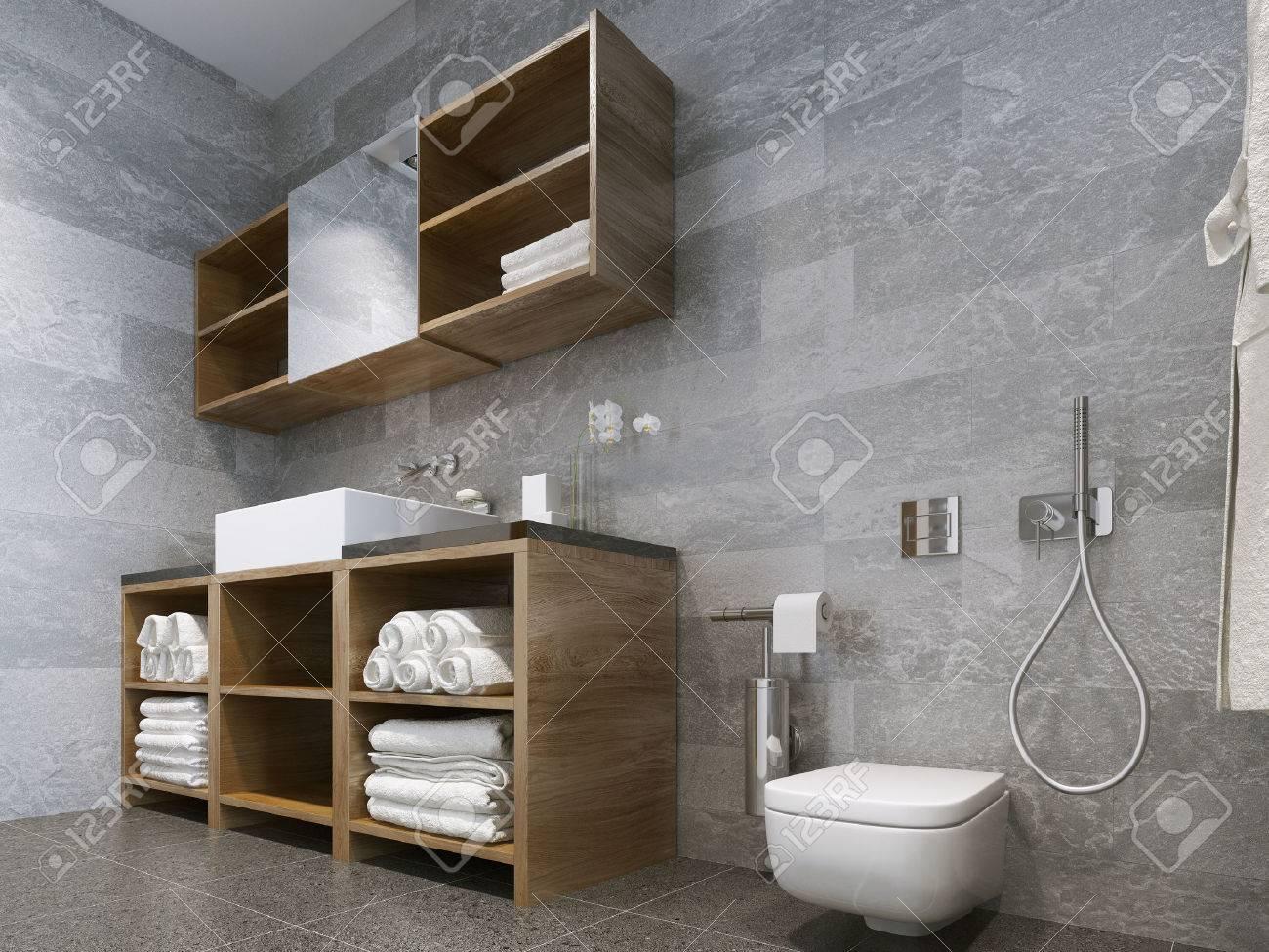 Badezimmer Modernen Stil. Compromising Mit Holz Und Naturstein-Bad ...