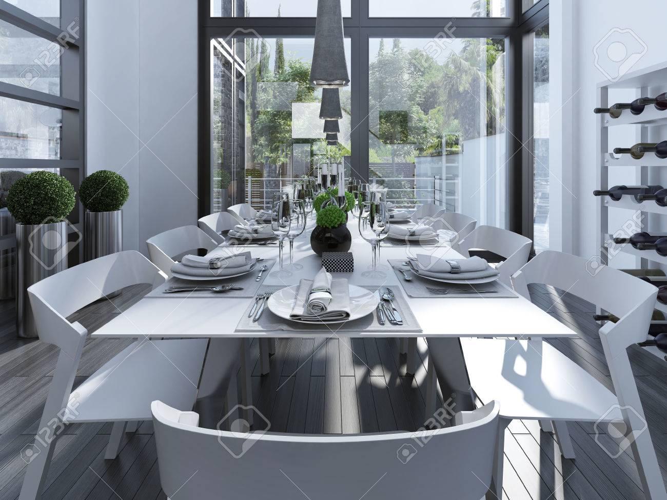 Served Table Sur Une Cuisine Contemporaine Les Meubles Blancs Et