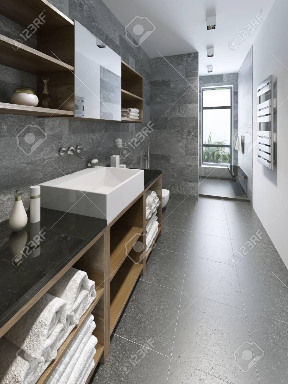 High-tech de salle de bains design. L\'éclairage et les fenêtres de la salle  de bains. Mixtes murs de couleur blanc et gris. 3D render