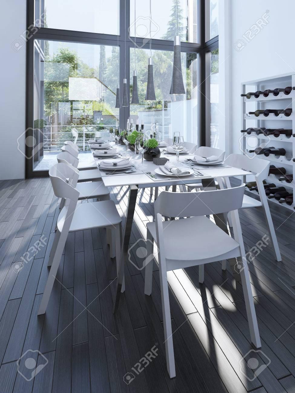 Diseño Moderno Comedor Con Botellero. Vector Servido Con Muebles De ...