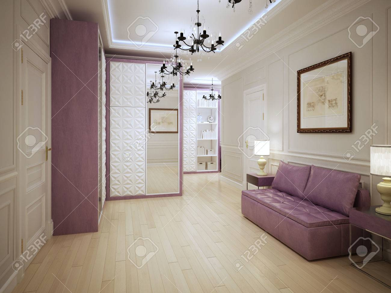 Idee Deco Hall D Entree graceful entrance hall art deco style. 3d render