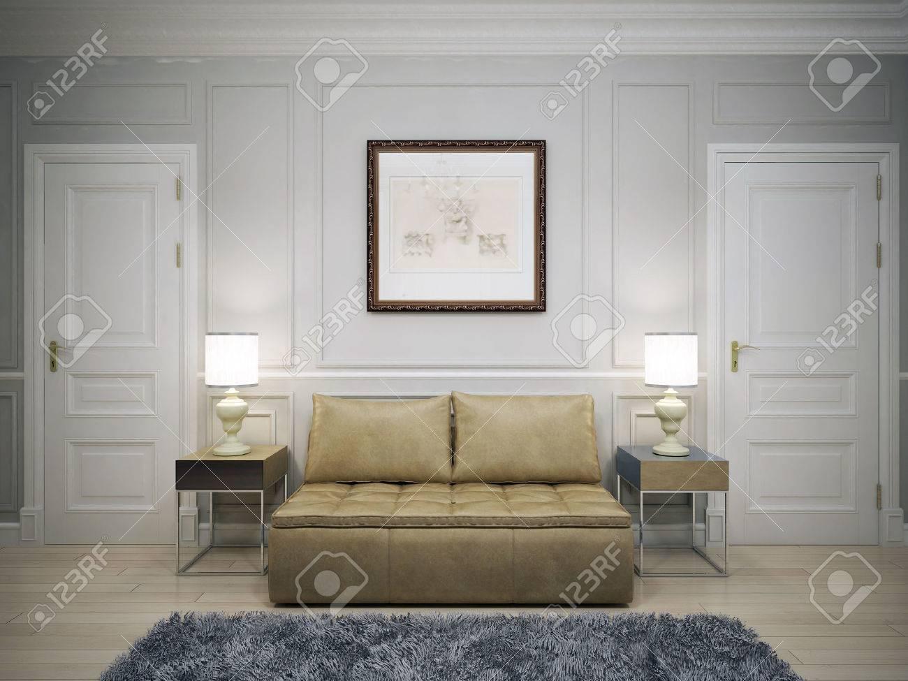 Idée de couloir moderne. 3D render