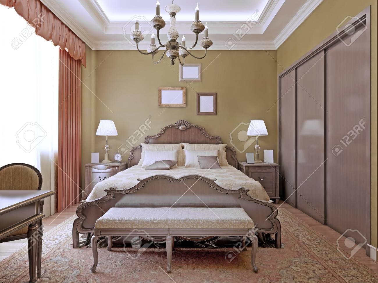 Art deco bedroom with ceiling neon lights.Comfortable room with..