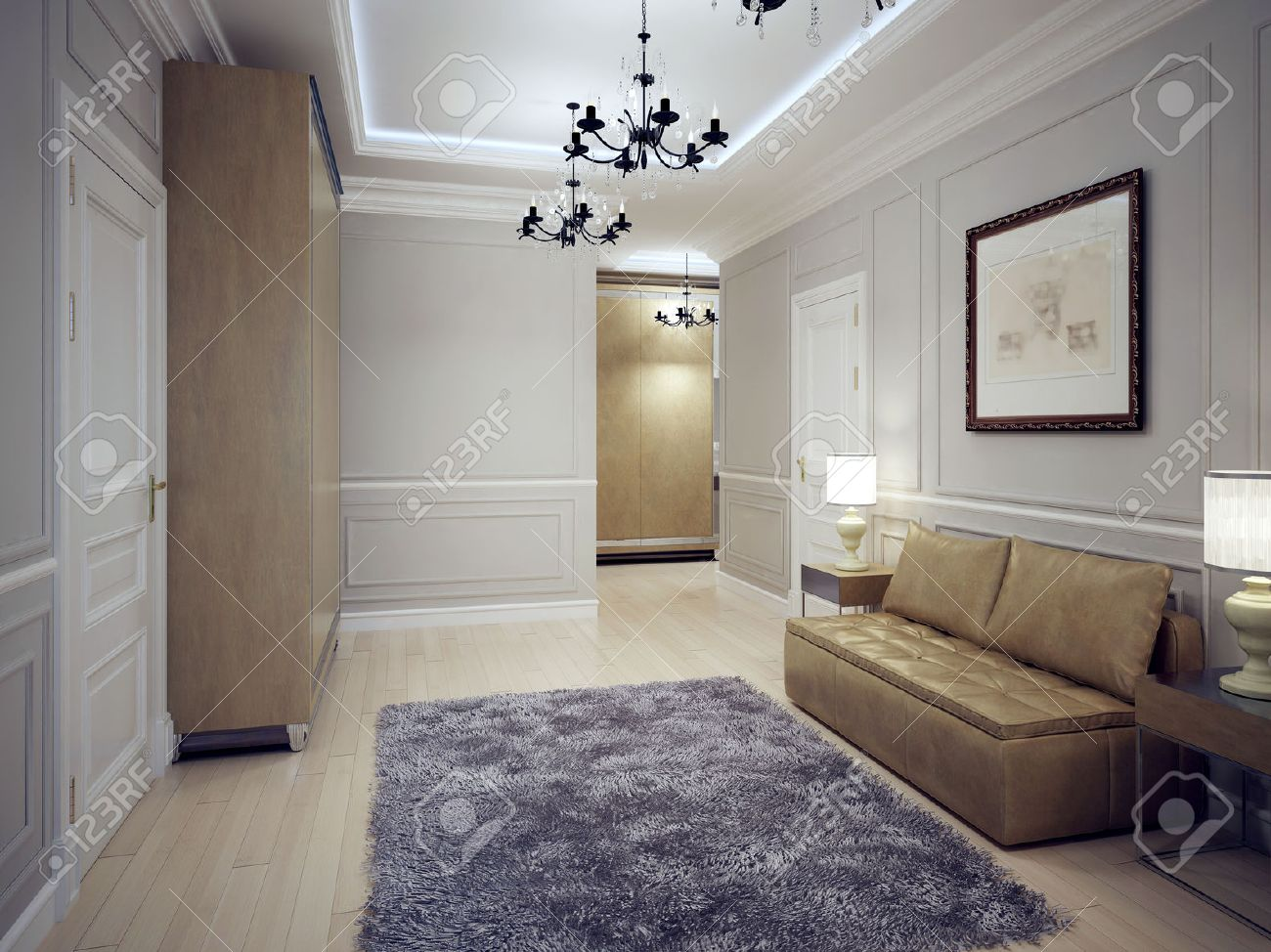 Spacious hallway art deco style modern hall with molding wall