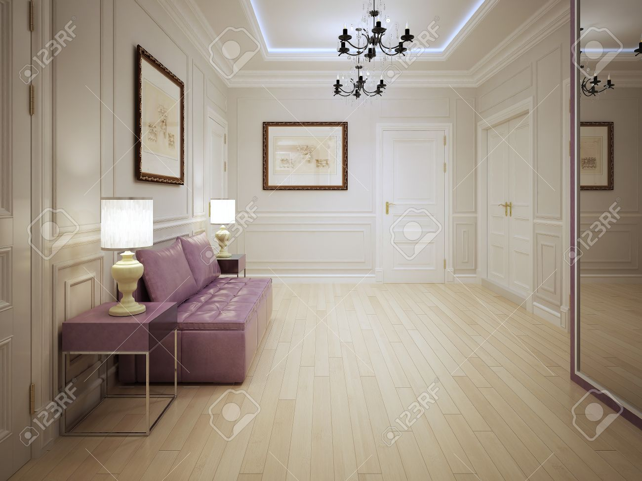 furniture for entrance hall. Modern Style Of Entrance Hall. Hall With Molded Wall Panels Pink Furniture . For