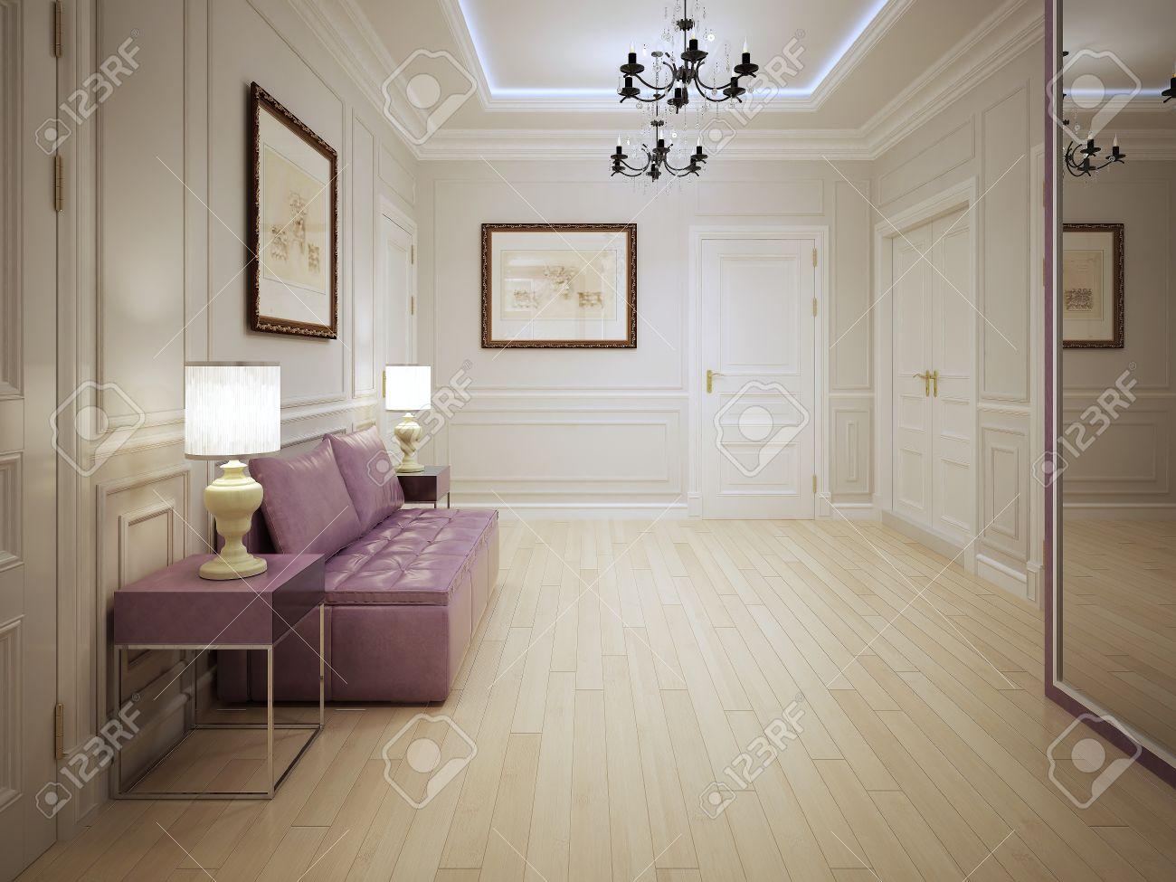 Luminaire Pour Couloir D Entrée style moderne de hall d'entrée. hall d'entrée avec moulés panneaux muraux  avec des meubles rose. l'éclairage est réalisé par des néons au plafond,