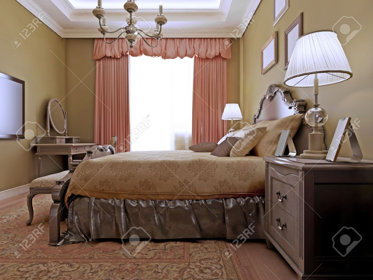 Elegant Room With Dressing Table Made In Soothing Color Combinations.