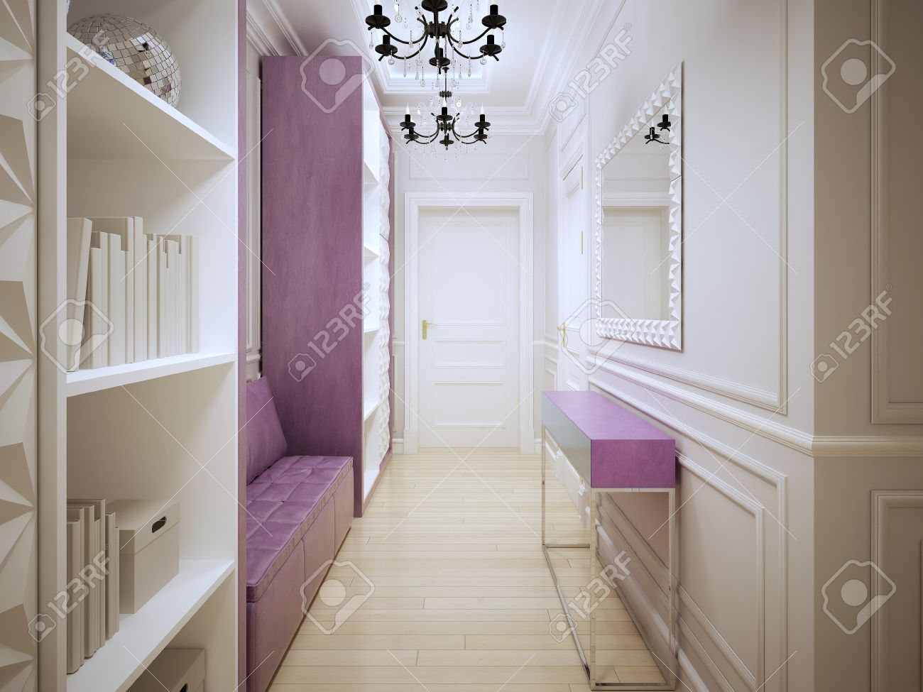 Design contemporain corridors. Hall d\'entrée avec placards, un canapé en  cuir rose tendre, console et grand miroir. 3D render