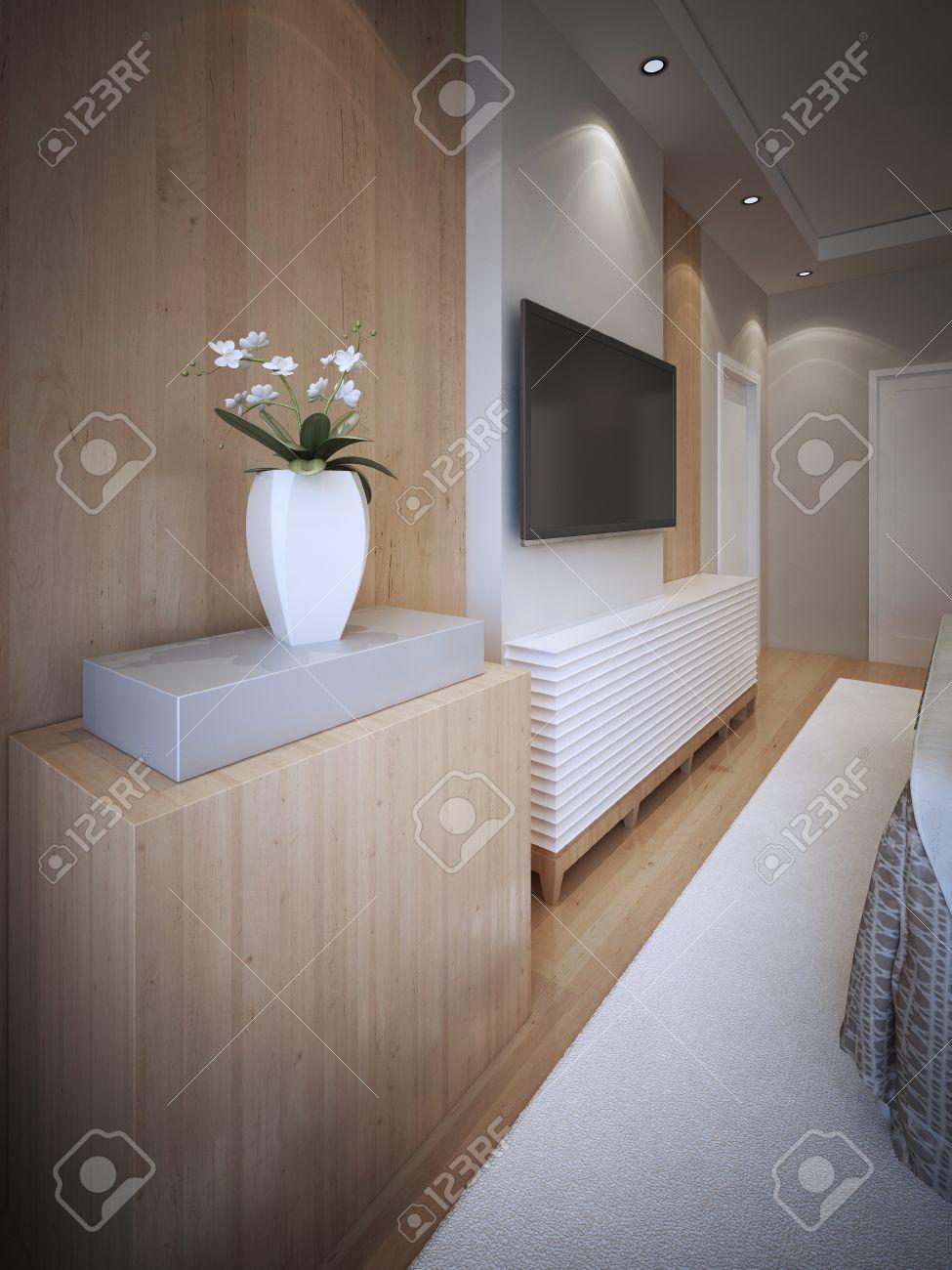 Idée de l\'art déco chambre. mur de panneau de texture en bois avec corniche  décorative pour accrocher la télévision. blanc tapis et plafonniers ...