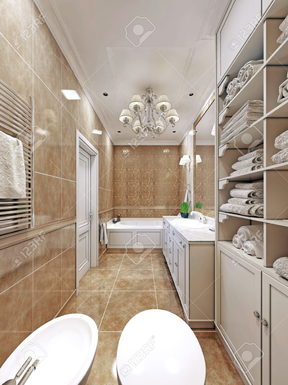 Long bathroom tiles - Elegant Provence Bathroom Design Long Bathroom With Wall Tiles Luxury Chandelier And White Multi