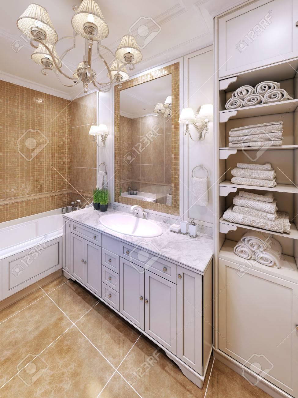 Das Innere Der Provence Badezimmer. 3D übertragen Lizenzfreie Fotos ...