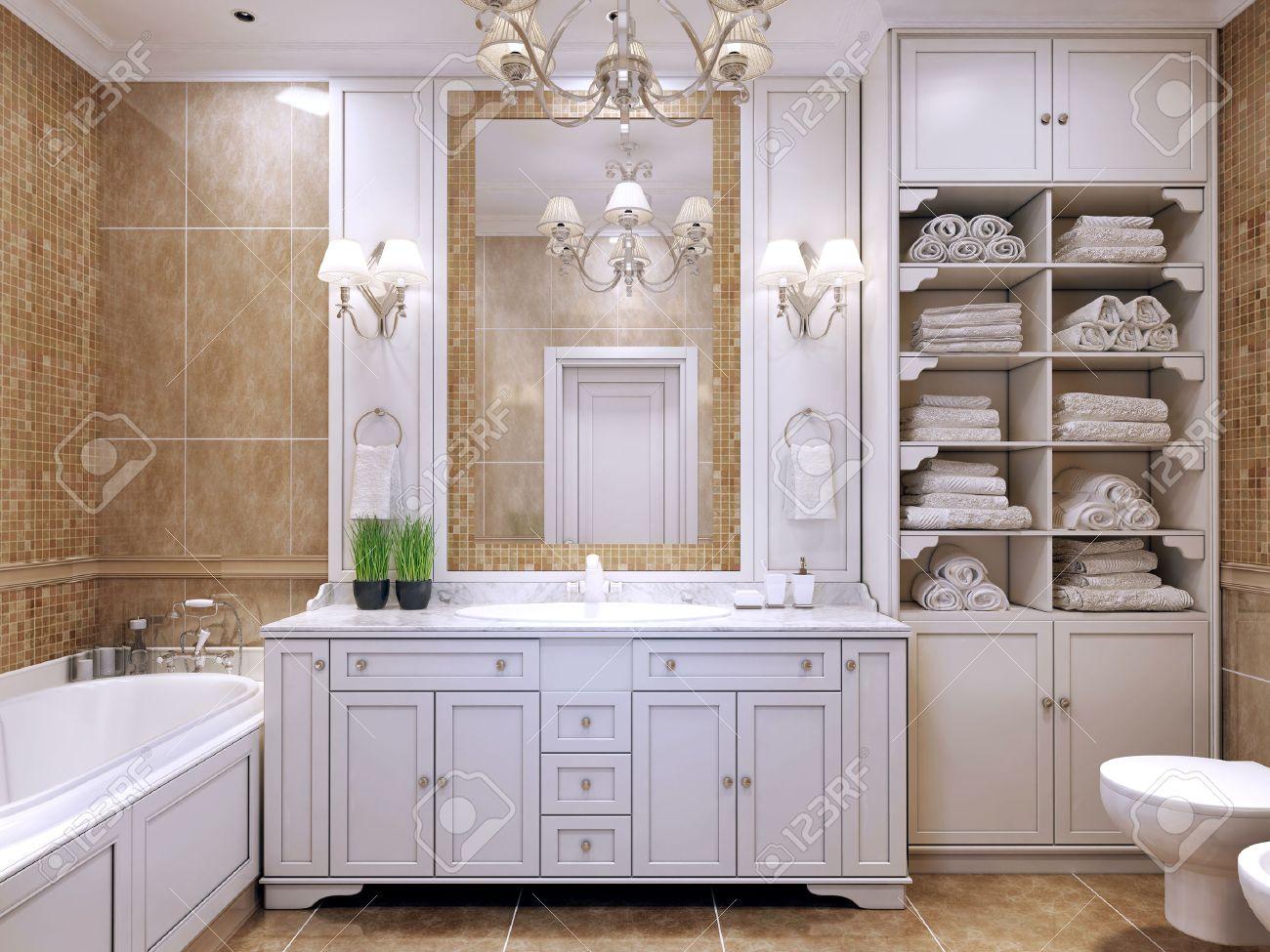 Meubels in klassieke badkamer crèmekleurige badkamer met witte