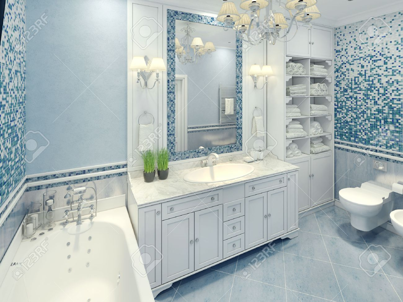 Delicieux Bright Art Deco Bathroom Interior. The Spacious Bathroom With White  Furniture And Fragments Of Mosaic