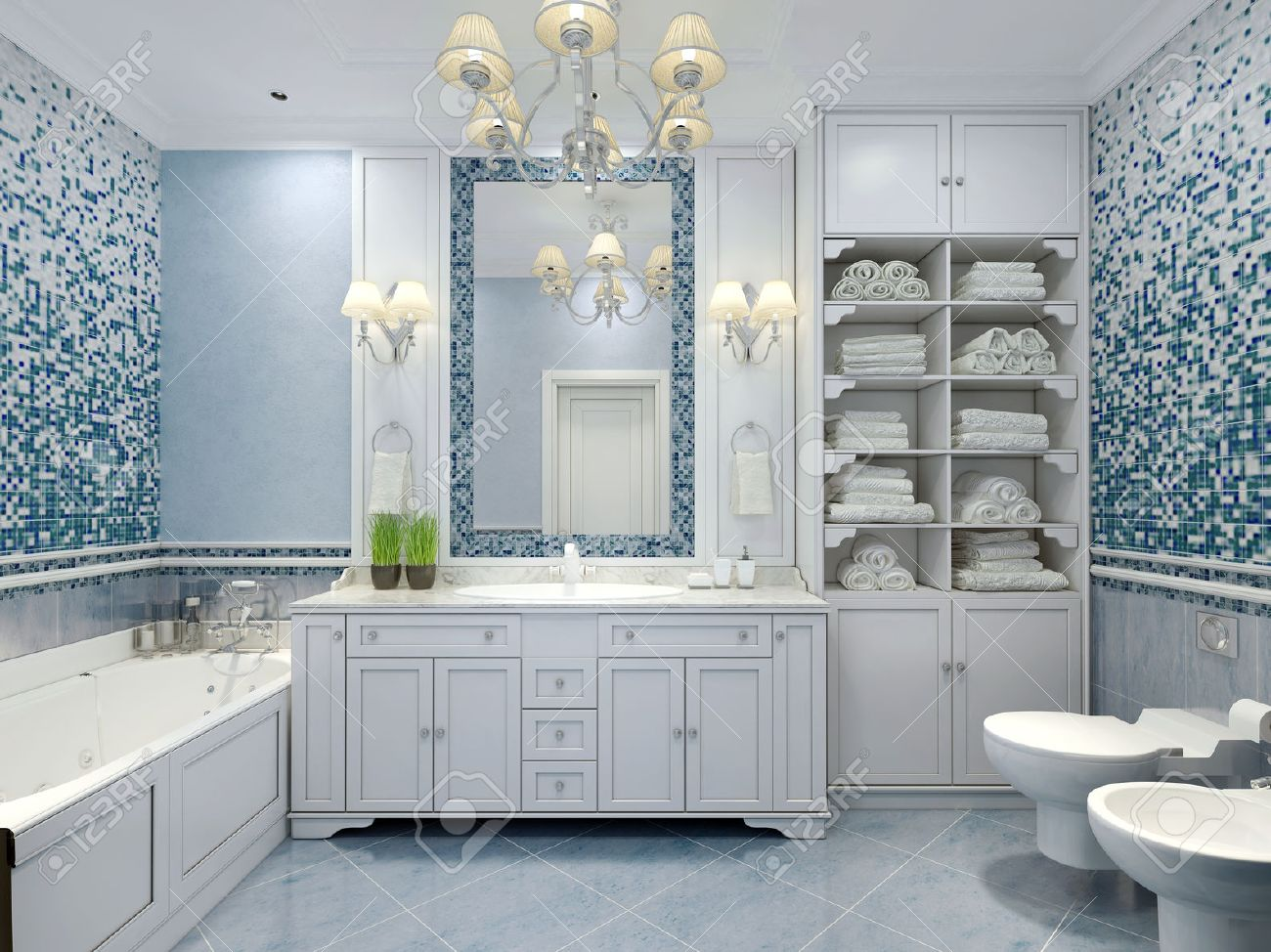 Furniture In Classic Blue Bathroom. Blue Colored Bathroom With ...